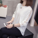 Women's large Autumn 2020 White, black XL [100-125 Jin], 2XL [125-150 Jin], 3XL [150-175 Jin], 4XL [175-200 Jin] T-shirt singleton  commute easy moderate Socket Long sleeves Solid color Korean version Crew neck routine cotton Three dimensional cutting routine 8-30 Other / other Cotton 71% - 80%