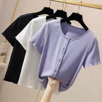 T-shirt Light purple, white, black XL (recommended 100-115 kg), 2XL (recommended 115-130 kg), 3XL (recommended 130-145 kg), 4XL (recommended 145-160 kg) Summer 2020 Short sleeve other Self cultivation Regular other commute other 96% and above Korean version Solid color Other / other 6-9
