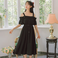 Dress Summer 2021 Mid length dress singleton  Sleeveless Sweet other High waist Solid color Condom other other Others 18-24 years old Type A Shiny Girl Splicing #9848ejxx More than 95% other other Other 100% Mori S M L XL Yellow black