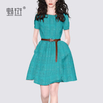 Dress Summer 2020 Turquoise S M L XL XXL Mid length dress singleton  Short sleeve street Crew neck middle-waisted Solid color Socket A-line skirt routine Others 30-34 years old My bun 31% (inclusive) - 50% (inclusive) nylon Europe and America