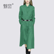 Dress Autumn 2020 Decor S M L XL XXL Mid length dress singleton  Long sleeves street Polo collar middle-waisted Decor Single breasted A-line skirt routine Others 30-34 years old My bun MDAQ125155 91% (inclusive) - 95% (inclusive) polyester fiber Europe and America