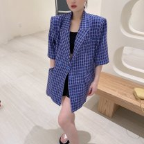 suit Summer 2021 Black wave, white wave, green grid, blue grid, yellow grid Average size elbow sleeve Medium length Straight cylinder tailored collar Single breasted commute puff sleeve Dot 1126-1 96% and above polyester fiber Other / other Bandage