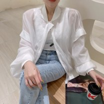 short coat Summer 2021 Average size Long sleeves routine Thin money singleton  Straight cylinder commute routine stand collar zipper Solid color Other / other 96% and above thread polyester fiber polyester fiber