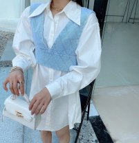 shirt White, yellow, blue S, M Spring 2021 cotton 96% and above Long sleeves commute Medium length square neck Single row multi button routine Solid color Straight cylinder Other / other Korean version Button, lace up, print pure cotton