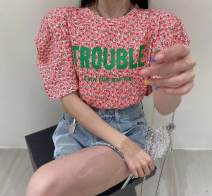 T-shirt Average size Summer 2021 Short sleeve Crew neck easy Regular puff sleeve commute cotton 86% (inclusive) -95% (inclusive) Korean version originality Plants and flowers Other / other