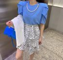 T-shirt White, blue, green, black Average size Summer 2021 Long sleeves Crew neck Straight cylinder Regular puff sleeve commute polyester fiber 96% and above Korean version Solid color Other / other Fold, nail bead