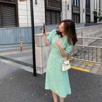Dress Summer 2021 Blue, green S,M,L Mid length dress singleton  Short sleeve commute V-neck High waist Decor Socket other routine Type A 6du shop Korean version 1Q4102 30% and below other