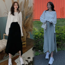 Fashion suit Autumn 2020 Average size White T-shirt, grey skirt and black skirt are sold separately 18-25 years old eight point two six 71% (inclusive) - 80% (inclusive) cotton