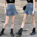 skirt Winter 2020 S,M,L Wash blue Short skirt High waist Ruffle Skirt Solid color Type A 18-24 years old one point two eight fold