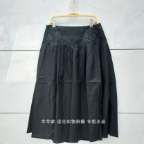 skirt Summer 2020 M,L,XL Black, dark red, light camel Mid length dress Versatile High waist other Solid color Yizhi manor 2015003 91% (inclusive) - 95% (inclusive) Manor of cleaning cotton Embroidery