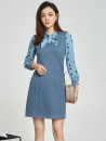 Dress Spring 2021 Apricot, blue XL,L,3XL,S,M,4XL,2XL,5XL,6XL,XS,F Middle-skirt Fake two pieces Long sleeves Sweet Crew neck middle-waisted Socket routine 30-34 years old 9 Charms 9m