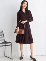 Dress Spring 2021 Red dot, white dot XS,S,M,L,XL,2XL,3XL,4XL,5XL,6XL,F Middle-skirt singleton  Long sleeves V-neck middle-waisted other zipper routine 30-34 years old 9 Charms