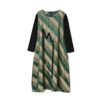 Dress Spring 2021 Green, yellow, black F Mid length dress singleton  Long sleeves Sweet Crew neck middle-waisted Socket routine 30-34 years old 9 Charms