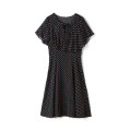 Dress Summer 2021 Decor, black Middle-skirt singleton  Short sleeve Crew neck High waist Socket routine 25-29 years old 9 Charms