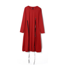 Dress Spring 2021 Red, grey, black F Middle-skirt singleton  Long sleeves Sweet Crew neck middle-waisted Socket routine 30-34 years old 9 Charms