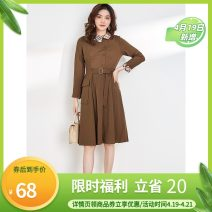 Dress Spring 2021 Black, coffee 5XL,XL,2XL,M,3XL,4XL,S,L Mid length dress singleton  Long sleeves other High waist Socket 25-29 years old 9 Charms
