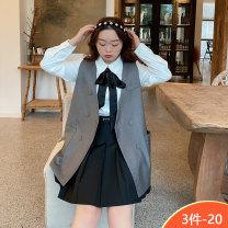 Women's large Spring 2021 White shirt, grey vest, black skirt Large L, large XL, large XXL, large XXL, large XXXL Three piece set commute thin Socket Long sleeves Korean version 100% of large size