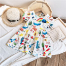 Dress female Other / other Tag size 7 95cm, tag size 9 105cm, tag size 11 115cm, tag size 13 125cm, tag size 15 135cm Polyester 100% summer Korean version Short sleeve Cartoon animation Chiffon A-line skirt Class B Chinese Mainland