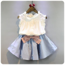 suit Other / other White Sleeveless Top + blue skirt two piece set Tag size 7 is suitable for 90cm, tag size 9 is suitable for 100cm, tag size 11 is suitable for 110cm, tag size 13 is suitable for 120cm, tag size 15 is suitable for 130cm female summer Korean version Sleeveless + skirt 2 pieces Socket