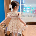 Dress Apricot heart lace dress female Other / other Tag size 7 85CM, tag size 9 95cm, tag size 11 105cm, tag size 13 115cm, tag size 15 125cm Polyester 100% summer fresh Short sleeve love Chiffon Princess Dress Class B Seven, eight, three, six, 18 months, two, five, four, nine Chinese Mainland