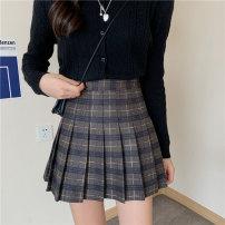 skirt Winter 2020 S,M,L,XL Yellow line, blue line, Tibetan line, khaki line Short skirt commute High waist Pleated skirt lattice Type A polyester fiber fold