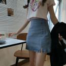 skirt Summer 2020 S. M, l, average size Short skirt 8152, black short t2588, white short t2823 Short skirt High waist Solid color Type A