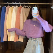 sweater Autumn 2020 Average size Apricot, orange, white, purple, blue, yellow, light pink Long sleeves Socket singleton  Super short Viscose 31% (inclusive) - 50% (inclusive) Crew neck Thin money commute Bat sleeve Solid color Straight cylinder Heavy wool Keep warm and warm 18-24 years old