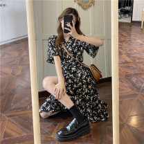 Dress Summer 2021 Black flowers Average size Miniskirt singleton  Short sleeve commute V-neck High waist Broken flowers other other other Others 18-24 years old Type A Korean version printing 31% (inclusive) - 50% (inclusive) Chiffon polyester fiber