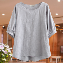 Middle aged and old women's wear Summer 2020 Apricot, grey, pink 1XL recommended weight 120-140, 2XL recommended weight 140-160, 3XL recommended weight 160-180, 4XL recommended weight 180-200 commute T-shirt easy singleton  Solid color 40-49 years old Socket moderate Crew neck routine Cotton and hemp