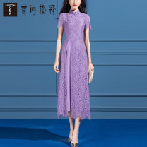 Dress Summer 2021 violet S M L XL XXL XXXL Mid length dress singleton  Short sleeve commute stand collar middle-waisted zipper A-line skirt routine Others 30-34 years old Type A Susongeth / shoushangge interpretation Ol style Asymmetrical lace S975 30% and below Lace nylon