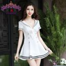 Dress Autumn of 2018 Black, blue, white S,M,L,XL,2XL Short skirt singleton  Short sleeve Sweet V-neck High waist Solid color zipper A-line skirt routine Others 25-29 years old Type A Bow, zipper More than 95% other other Ruili