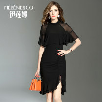 Dress Summer 2021 black 155/S 160/M 165/L 170/XL Middle-skirt singleton  elbow sleeve street stand collar middle-waisted Solid color zipper Irregular skirt Sleeve Others 30-34 years old Type X Helene&Co Asymmetric folding and splicing of ruffles More than 95% polyester fiber Polyester 100%