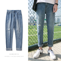 Jeans Youth fashion myfangshao M,L,XL,2XL Light blue, black, D21 blue, > Click to view size < (select color in front) routine No bullet Regular denim Ninth pants Other leisure spring teenagers Medium low back Slim feet tide 2019 Pencil pants zipper washing Rough edge