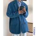 man 's suit Apricot, blue Others Youth fashion routine M,L,XL,2XL easy Double breasted Other leisure Back middle slit teenagers Long sleeves Four seasons routine Youthful vigor Casual clothes Flat lapel Round hem Solid color 2020