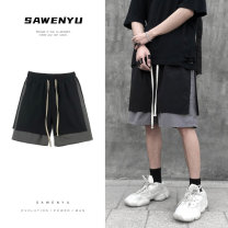 Casual pants myfangshao Youth fashion Black, dark grey, color block M,L,XL,2XL,3XL routine Shorts (up to knee) Other leisure easy No bullet summer youth tide 2021 Medium low back Straight cylinder Overalls pocket washing Solid color