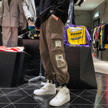 Casual pants myfangshao Youth fashion Brown, black, > Click to view size < (select color before) S,M,L,XL,2XL Plush and thicken trousers Other leisure easy Micro bomb spring teenagers tide 2021 Medium low back Little feet Overalls Pocket decoration cotton cotton