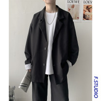 man 's suit Black, silver Others Youth fashion routine M,L,XL,2XL X222 easy Two double breasted Other leisure No slits teenagers Long sleeves spring routine tide Casual clothes stand collar Straight hem Regular collar (collar width 7-9cm) 2020 Digging bags with lids Button decoration