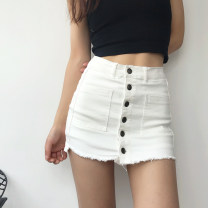 skirt Summer 2020 S,M,L White, black, army green Short skirt Versatile High waist Solid color 18-24 years old 51% (inclusive) - 70% (inclusive) other other