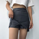 skirt Autumn 2020 S,M,L Grey, Navy, white Short skirt commute High waist Solid color 18-24 years old polyester fiber