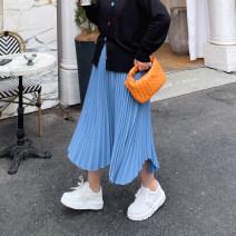 Women's large Spring 2021 Turmeric orange, fresh white, cloud blue, glow purple, classic black L, XL, 2XL, 3XL, 4XL, 5XL skirt singleton  easy CG5126 Pleated skirt