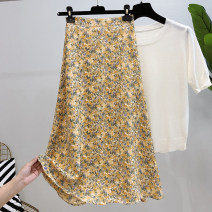 skirt Summer 2021 S. M, l, XL, one size fits all Mid length dress commute Natural waist A-line skirt Decor 25-29 years old More than 95% other printing Korean version