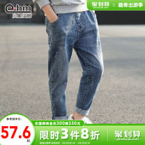 trousers Little elephant ham male 110cm 120cm 130cm 140cm 150cm 160cm navy blue spring and autumn trousers There are models in the real shooting Jeans Leather belt middle-waisted Cotton elastic denim Don't open the crotch Cotton 81.1% polyester 10.5% viscose 7.6% polyurethane elastic 0.8% K19517