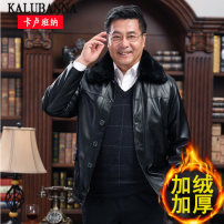 leather clothing Others Business gentleman black 175 / 88a, 180 / 92a, 185 / 96a, 190 / 100A, 195 / 60, 155-165kg, 62, 165-180kg routine Imitation leather clothes Lapel easy Single breasted winter go to work old age Business Casual WK-001 Cloth hem Mingji thread patch bag Multiple pockets