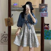 Dress Summer 2021 Average size Middle-skirt Two piece set Sleeveless commute High waist Broken flowers Socket camisole 18-24 years old Korean version