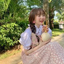 Dress Summer 2021 Black skirt piece, white shirt piece, pink skirt piece Average size Mid length dress Two piece set Sleeveless commute Loose waist Broken flowers Socket straps 18-24 years old Type A Korean version