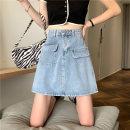 skirt Summer 2021 S,M,L,XL wathet Short skirt commute High waist Denim skirt Solid color Type A 18-24 years old pocket Korean version