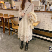 Dress Spring 2021 Apricot sweater coat (one piece), white lace dress (one piece) Average size Mid length dress Two piece set Long sleeves commute stand collar High waist Solid color Socket A-line skirt bishop sleeve 18-24 years old Type A Korean version