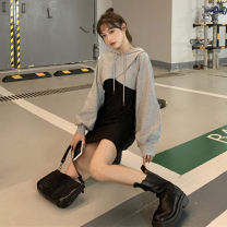 Dress Spring 2021 M, L Short skirt Two piece set Sleeveless commute One word collar middle-waisted Solid color Socket A-line skirt camisole 18-24 years old Type A Korean version