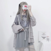 Fashion suit Spring 2021 Average size Grey thin coat (single piece), grey blue gauze skirt bandage (single piece), grey blue gauze skirt sling (single piece), grey blue T-shirt (single piece) 18-25 years old