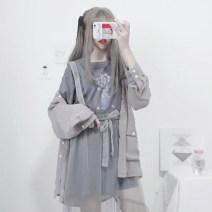 Fashion suit Spring 2021 Average size Grey thin coat (single piece), grey blue gauze skirt bandage (single piece), grey blue gauze skirt sling (single piece), grey blue T-shirt (single piece) 18-25 years old